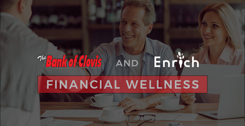 people shaking hands with banker financial wellness text overlayed