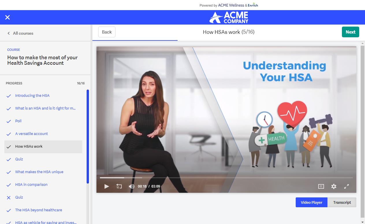 Interactive HSA financial wellness course on Enrich platform